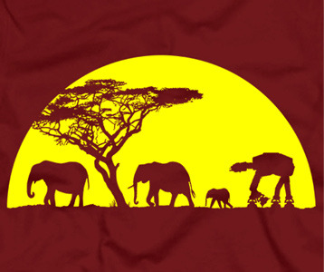 AT AT Walker With Elephants Inspired by Star Wars Printed T-Shirt
