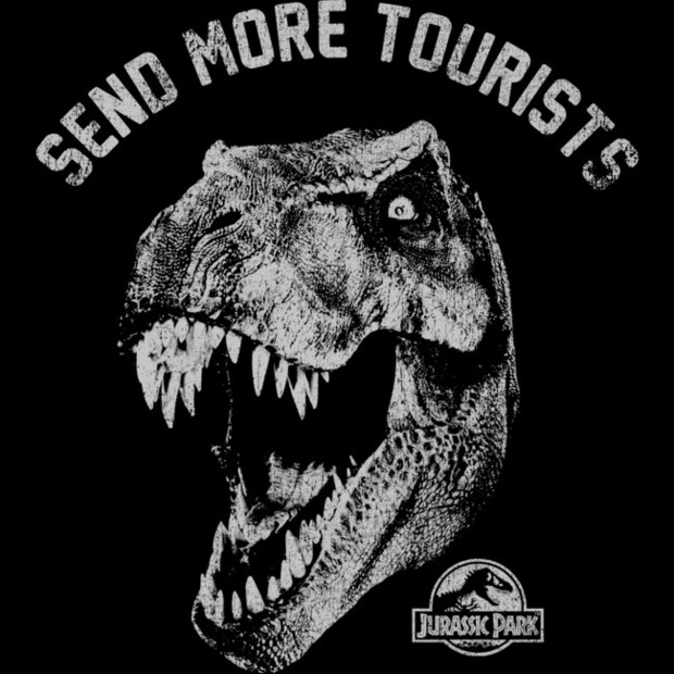 bded7b687 Jurassic Park Send More Tourists T-Shirt - Funny T-Rex Shirt