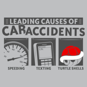 Turtle Shells Leading Causes of Car Accidents Mario Kart T-Shirt