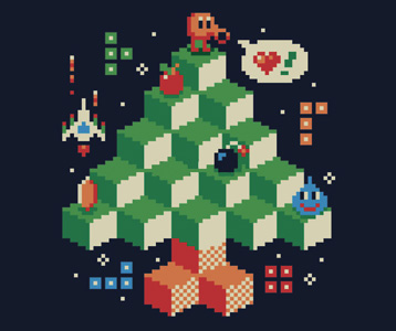 Q-bert Christmas Tree T-Shirt – 8-bit Holiday Shirt